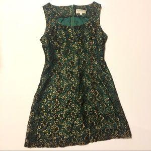 Adrianna Papell Green Gold Christmas Minidress